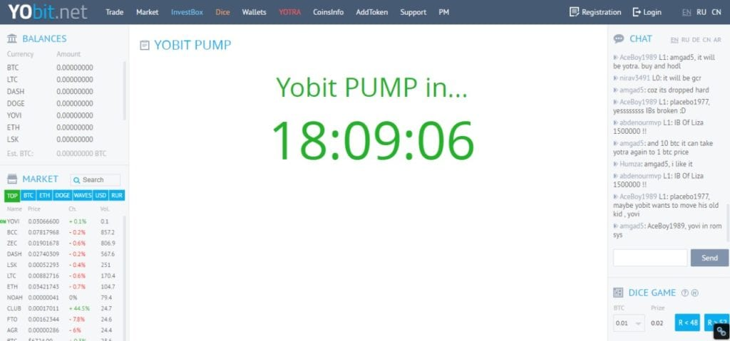 Countdown timer from Yobit.net with 18:09:06 on it.